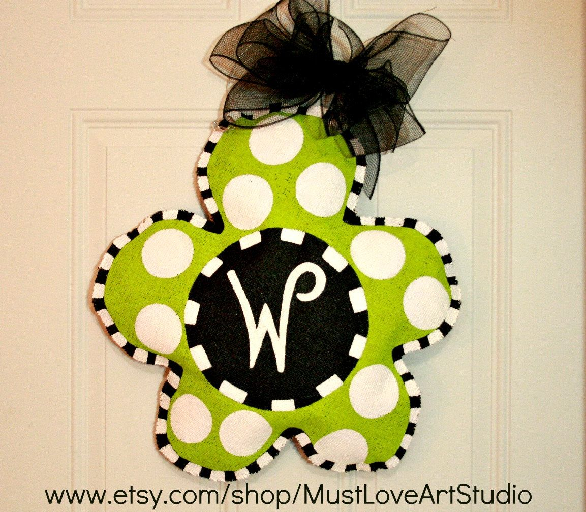 Hand Painted Spring Flower Burlap Door Hanger Decoration ...