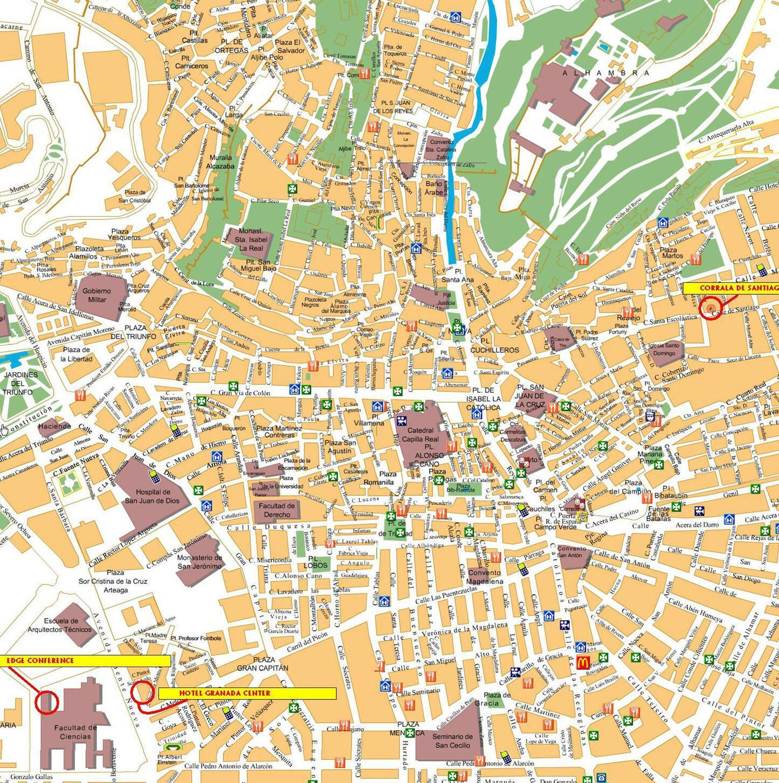Spagna Andalusia Cartina.Mappa Granada Cartina Di Granada In Spagna Granada Map