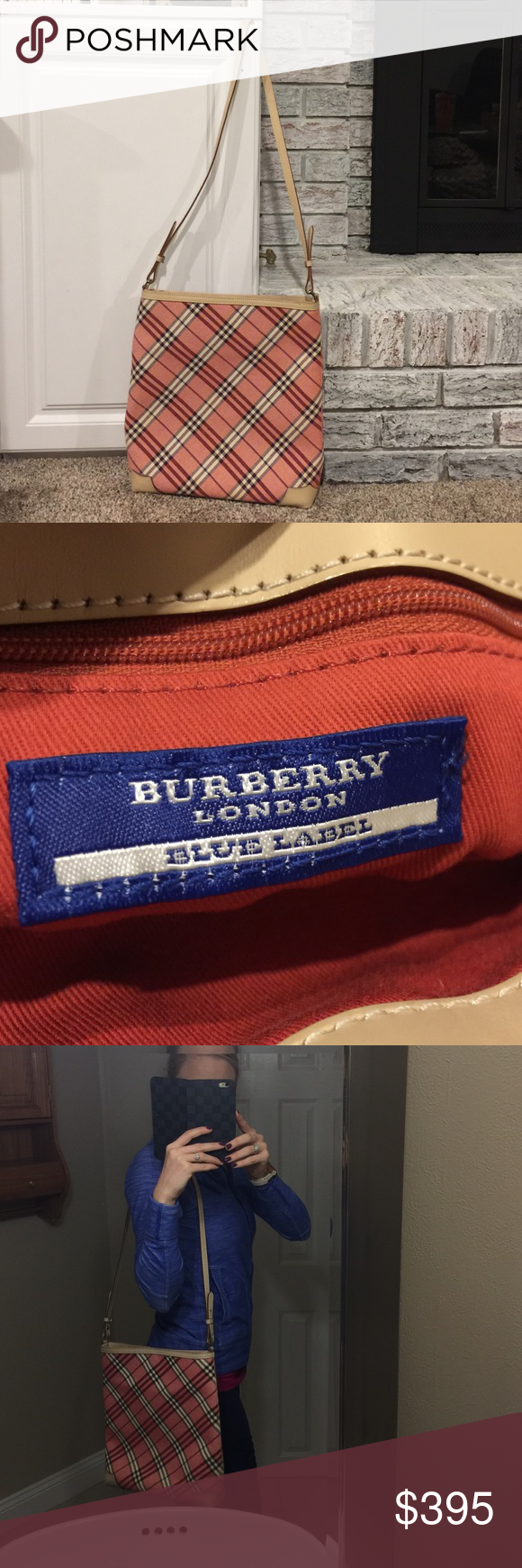 de2bdd75e35 Authentic Burberry London Blue Label Check Tote New without tags! Pink  Burberry check handbag with