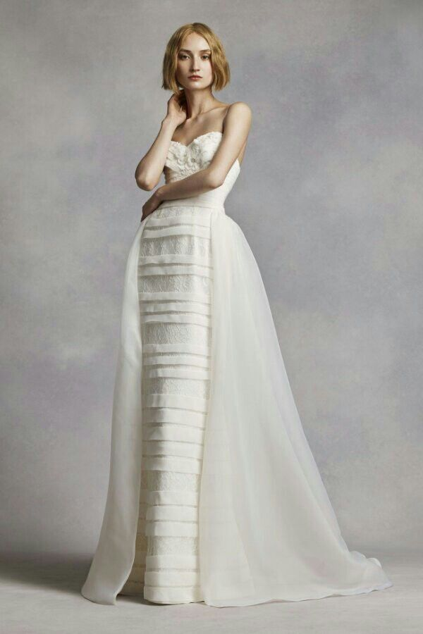 Beaded Lace Tulle Column Sheath Wedding Gown With Organza Overskirt White By Vera For David S Bridal