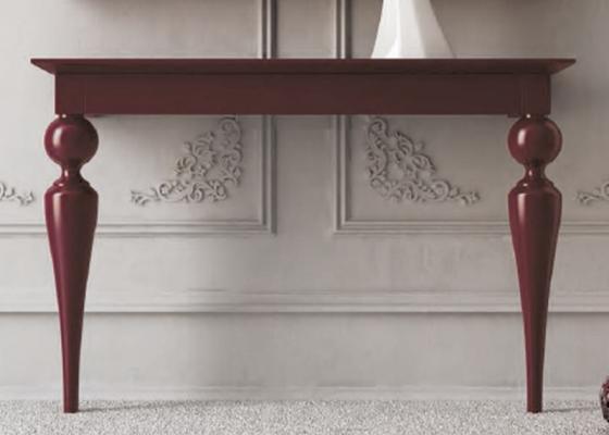 Mesa de dos patas torneadas en color burdeos mesas - Patas torneadas de madera ...