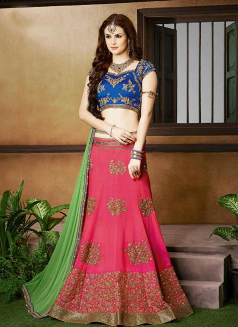 c6f776fddf4a49 Hot Pink, Green and Blue Silk Embroidered Bridal Lehenga choli ...