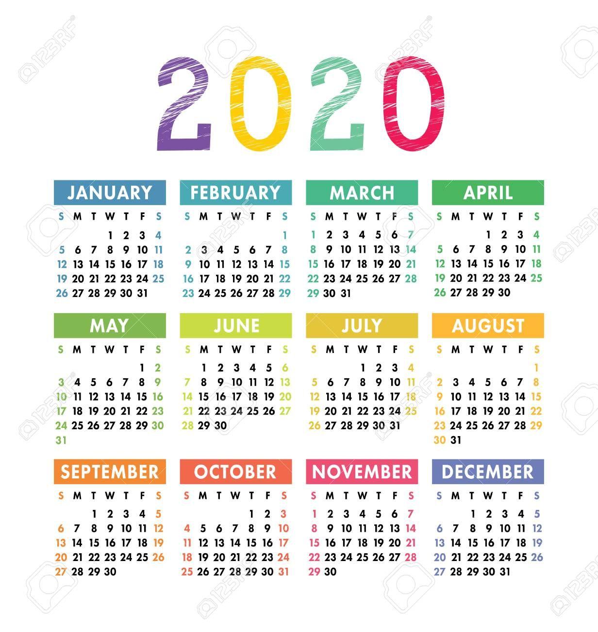 Calendar 2020 Year Vector Pocket Or Wall Calender Template Calender Template Calendar Printables Calendar 2020