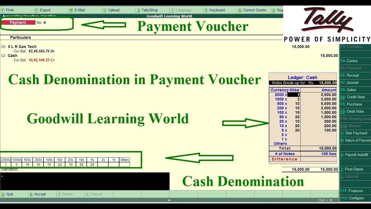 Tally TDL for Cash Denomination in Payment and Receipt