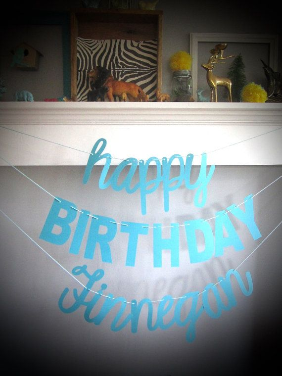 Cursive Birthday Font Happy WITH NAME Banner And Blocky Letters