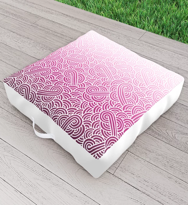 Faded pink and white swirls doodles Outdoor Floor Cushion by @savousepate on Society6 #findyourthing #outdoorfloorcushion #floorcushion #ombré #gradient #faded #dipdye #tiedye #magenta #fushia #hotpink #brightpink #candypink #pinkandwhite #whiteandpink