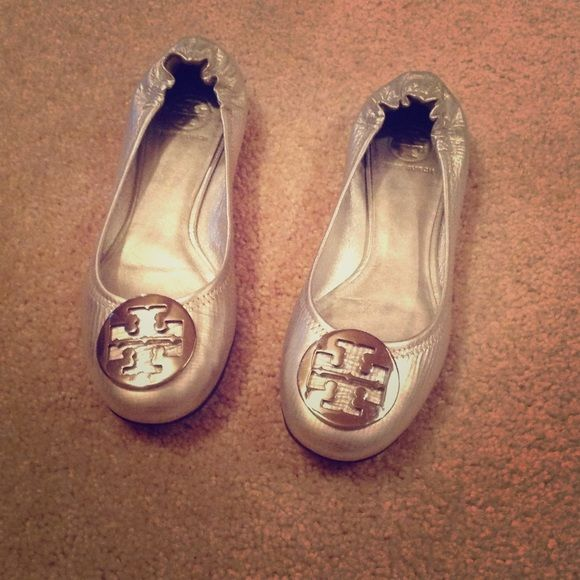 Tory Burch silver flats Only worn once, brand new condition!  Silver Tory Burch flats. Tory Burch Shoes Flats & Loafers