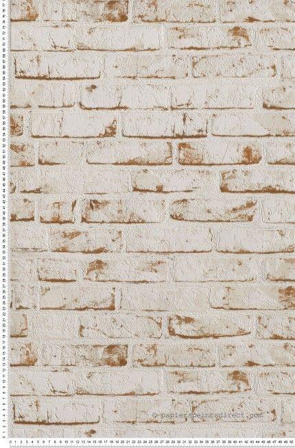 Papier peint briques blanches et brique Déco salle de bain