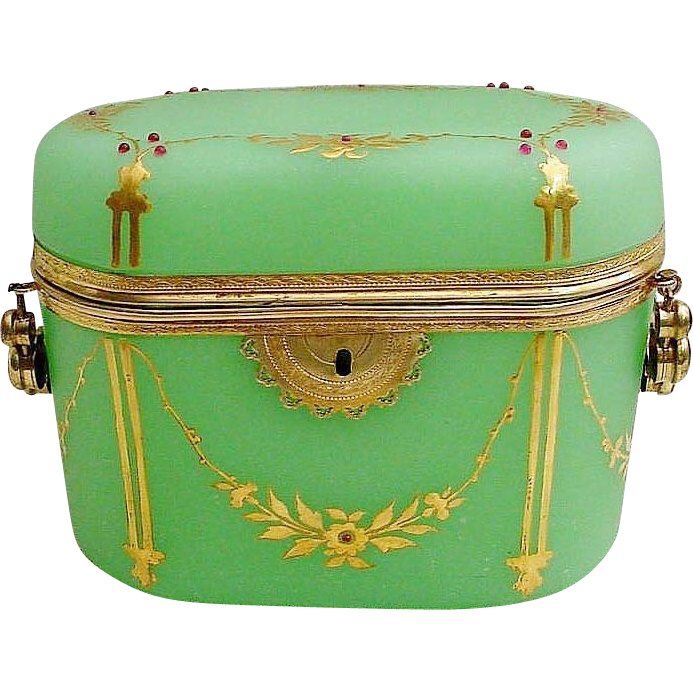 Antique French Jeweled Green Opaline Casket