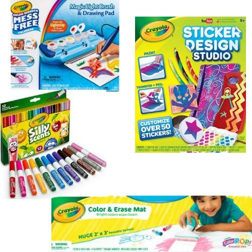 Crayola sticker design studio silly scent markers magic light up brush color and