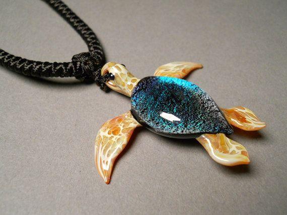 Glass handmade sea turtle pendant necklace focal by glassnfire glass handmade sea turtle pendant necklace focal by glassnfire 4800 mozeypictures Images