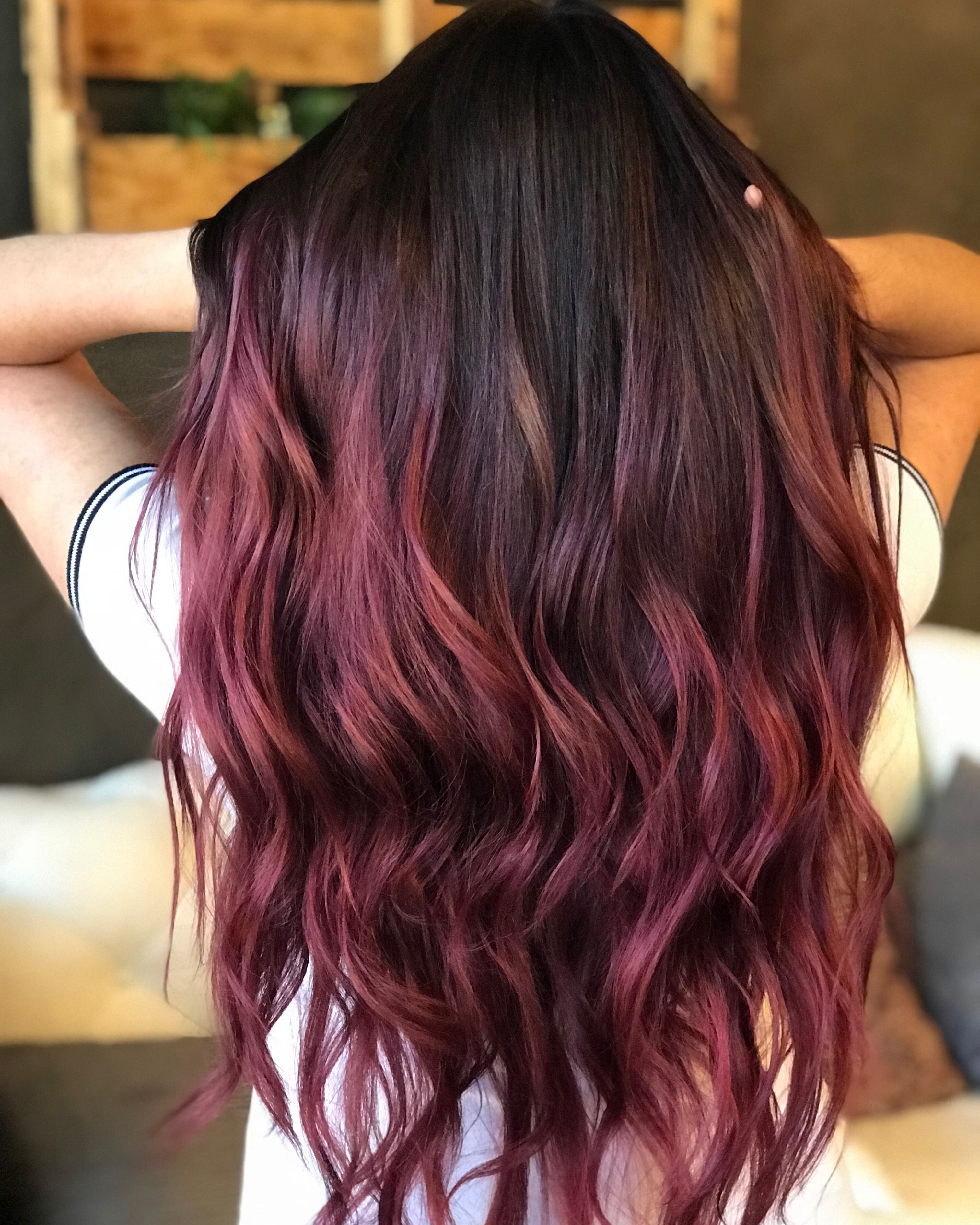 Red Balayage Color Melt Hair With Dark Brown Roots Color Melting Hair Brown Ombre Hair Roots Hair