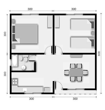Viviendas prefabricadas de 36 mts 2 con 2 dormitorios for Diseno de casa de 300 metros cuadrados