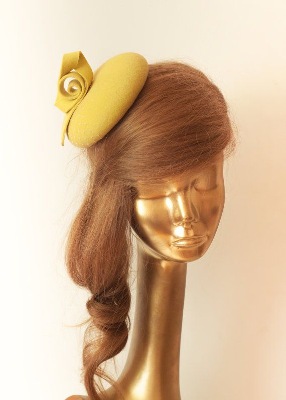 232e5de30aff8 Unique Modern YELLOW . FELT FASCINATOR. by ancoraboutique