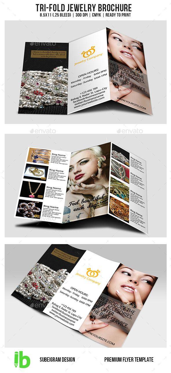 Tri-Fold Jewelry Brochure Fully editable brochure template