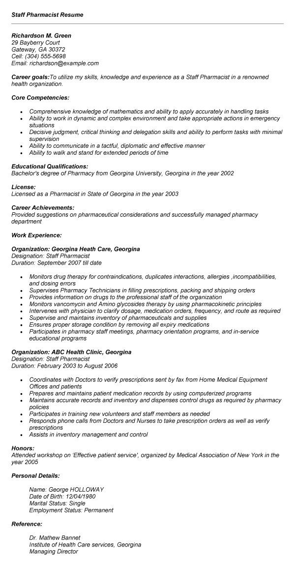Pharmacist Resume Format India 13 Resume Pinterest Sample