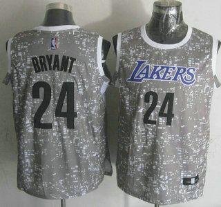 231950cdeeb Men s Los Angeles Lakers Jersey 24 Kobe Bryant 2015 Gray City Lights  Swingman Jerseys