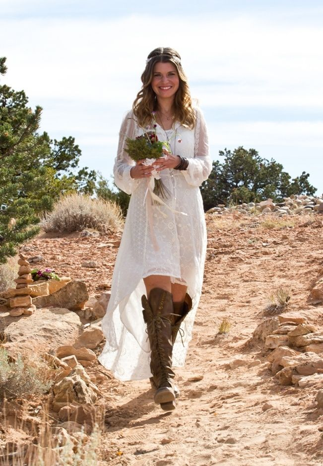 Hippie Bride With Hi Lo Wedding Gown Boho Wedding Inspiration