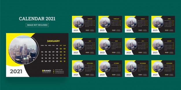 34+ Template Desain Desain Kalender Meja 2021