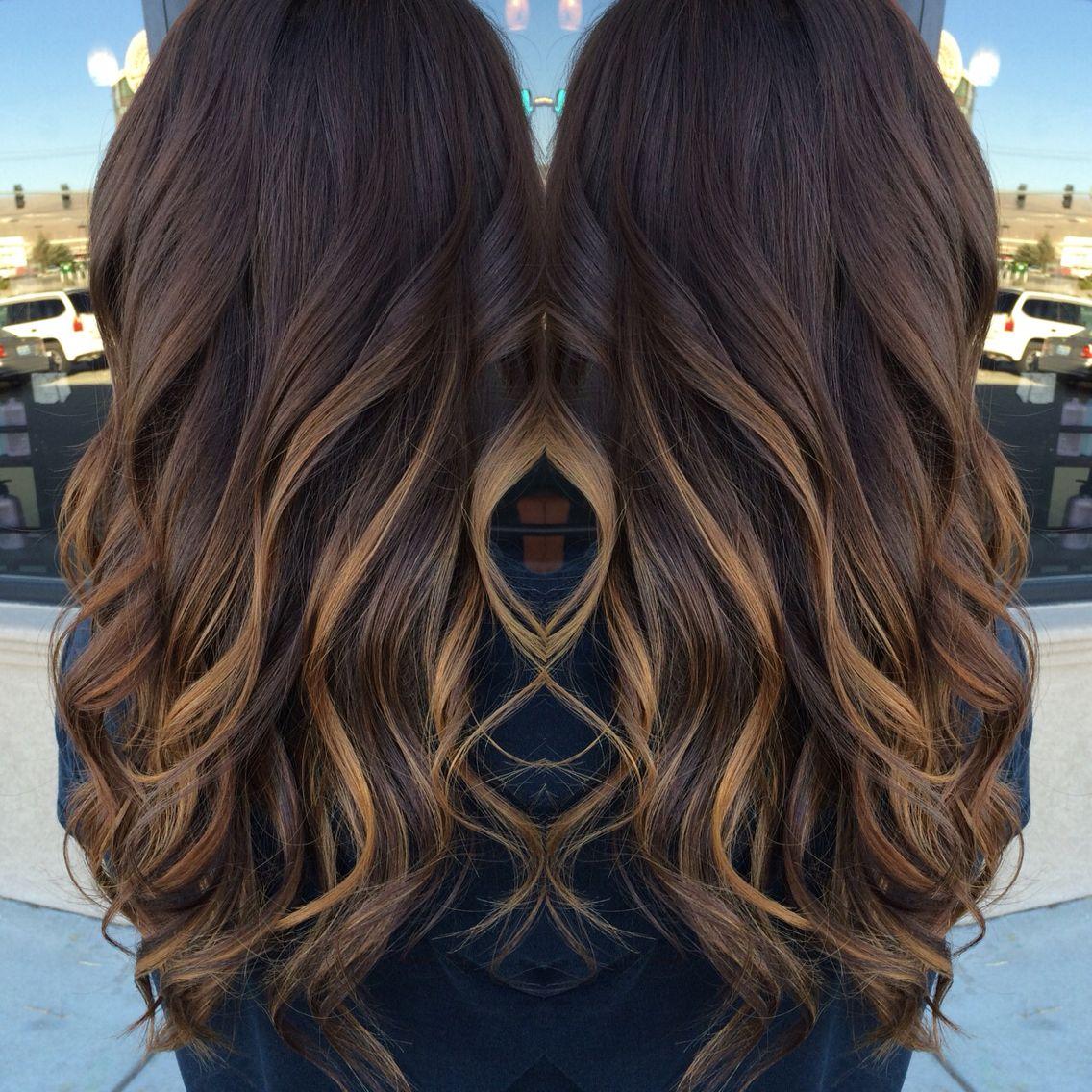 Dark brown with balyage highlights i whip my hair back u forth
