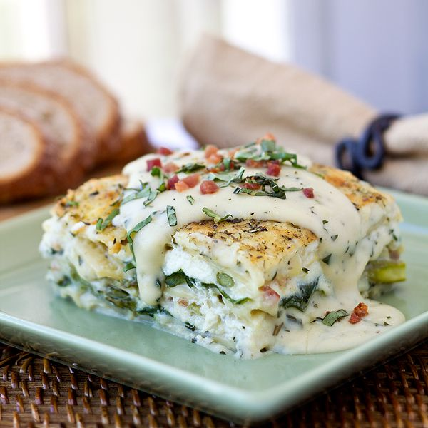 This is literally to-die-for! Six-Cheese Lasagna with Pancetta, Asparagus, and Spinach in a Summer Basil-Cream Sauce