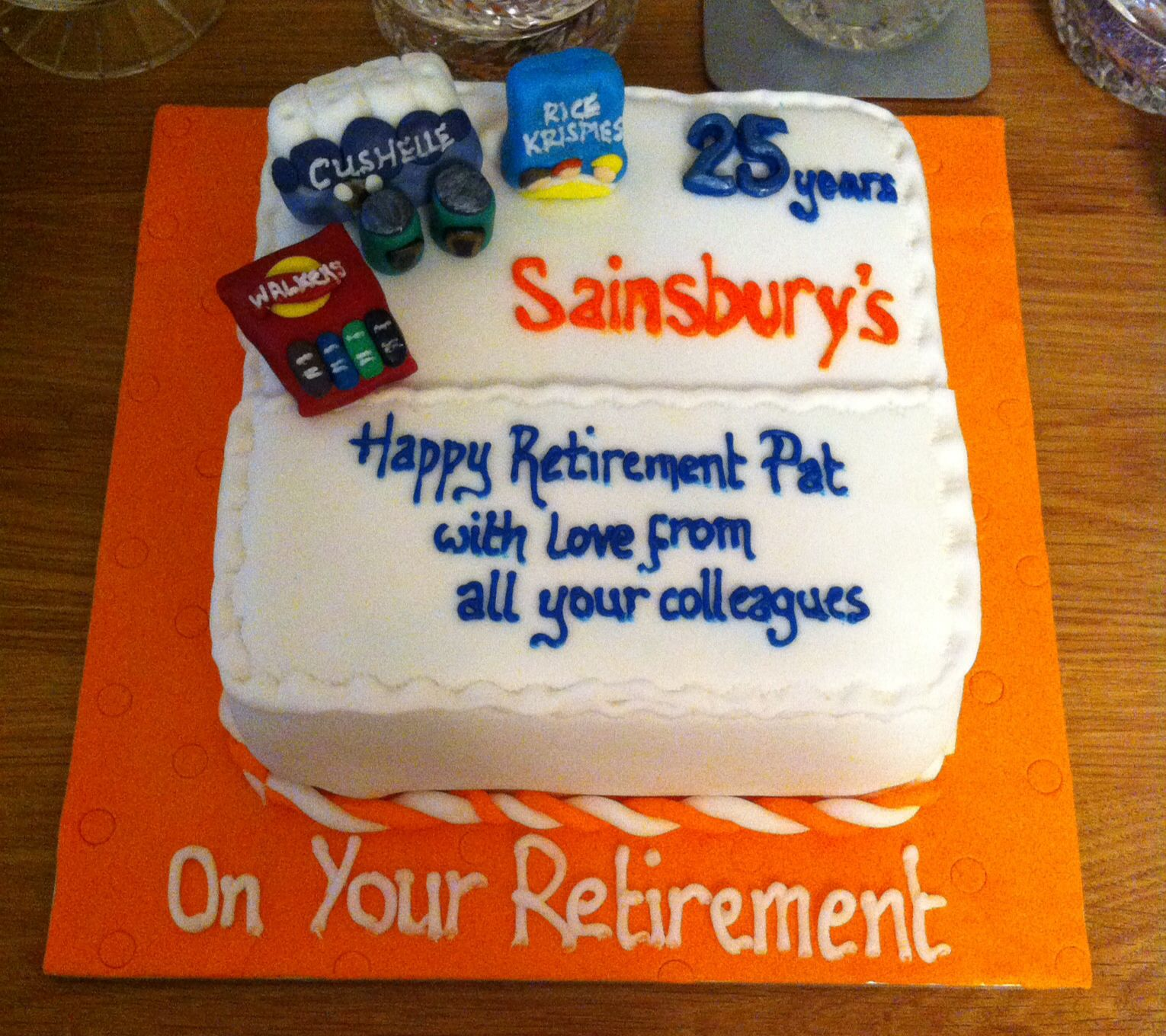 Corporate Cake Made For A Retirement At Sainsburys