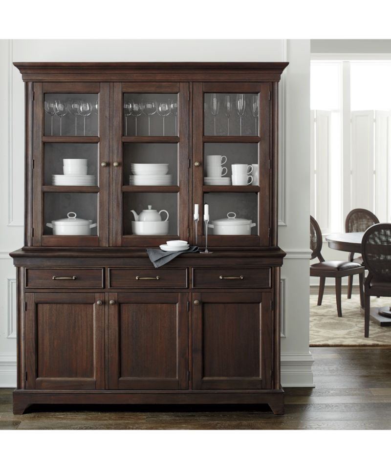 Winnetka Dark Mahogany Hutch Top is part of Living Room Storage Buffet - Shop Winnetka Dark Mahogany Hutch Top    Designer Blake Tovin's stately hutch showcases antique brass pulls that add a traditional note to the cabinet front doors   The hutch's cleanstyled glass sides a