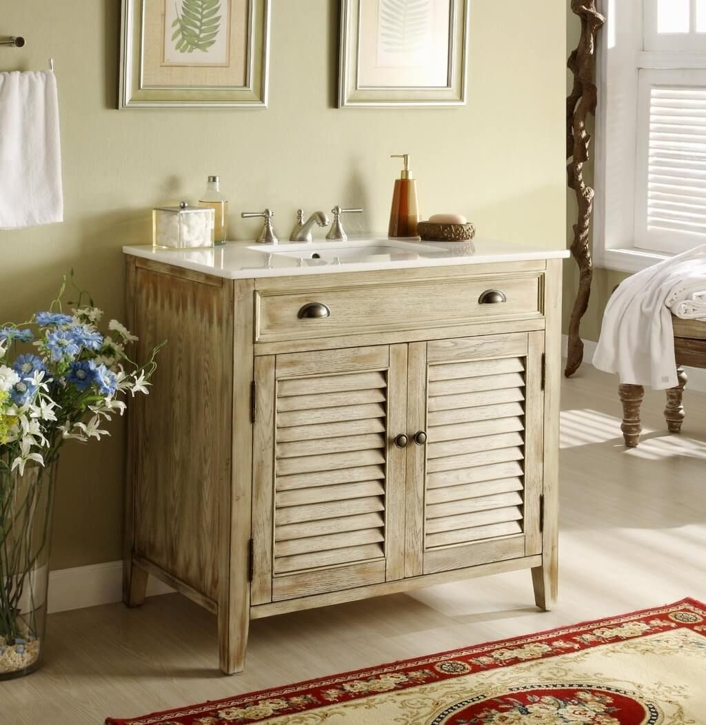 Bathroom: Unfinished Wood Rustic Bathroom Vanity Design With ...