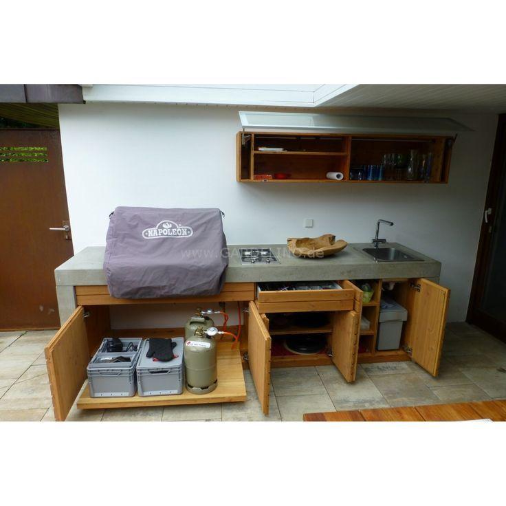 Beton Outdoorkuche Mit Napoleon Einbaugrill Outdoor Kitchen Concrete Outdoor Kitchen Outdoor Bbq Area