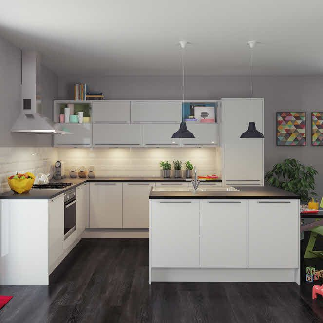 Apollo white fitted kitchen by magnet whitekitchen for Fitted kitchen ideas