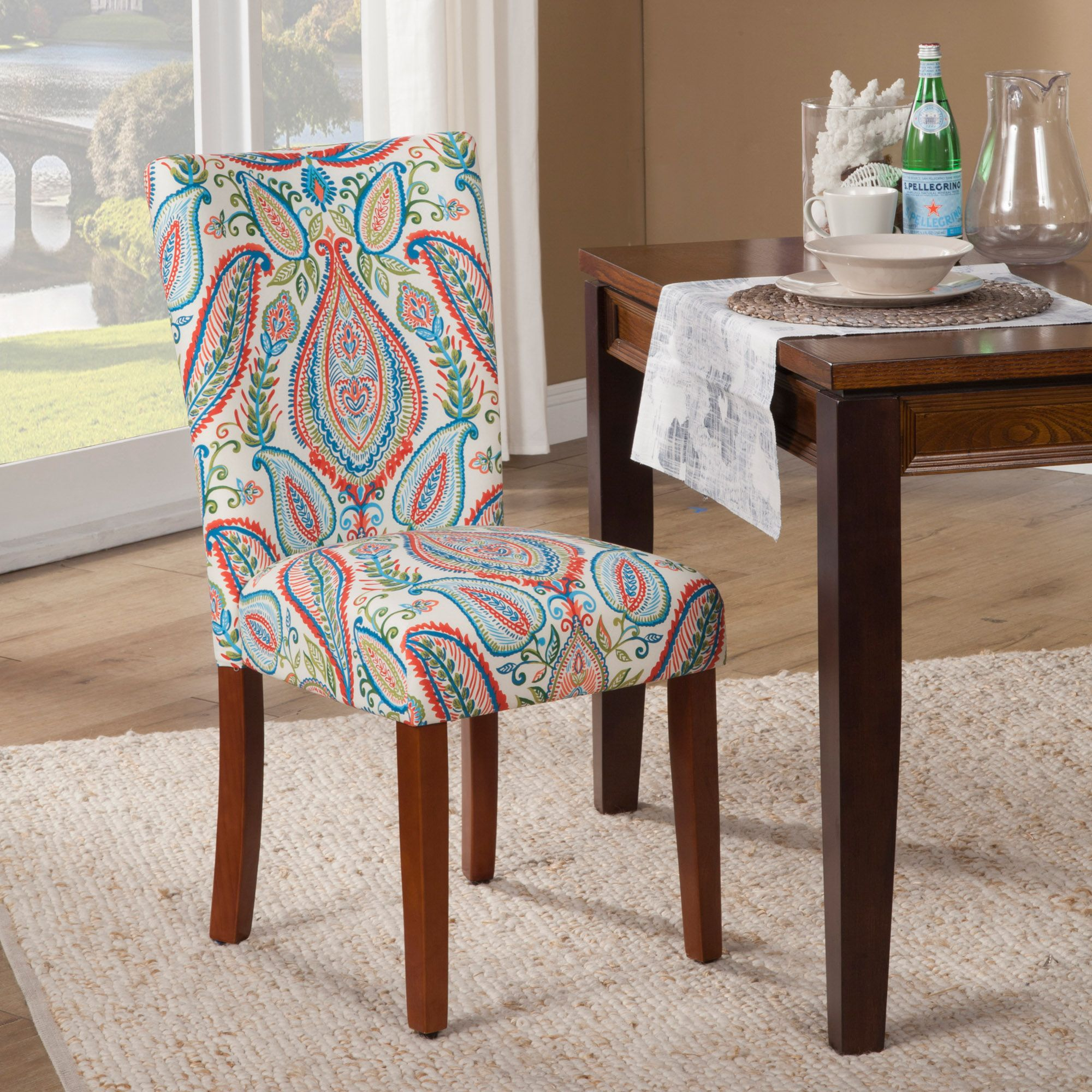 Vibrant Coral Trendy Parsons Dining Chair Set Of 2 Homepop Patterned Dining Chairs Parsons Dining Chairs Dining Chairs #patterned #living #room #chairs