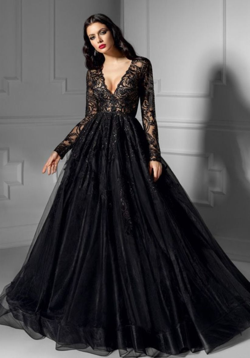 Black Lace Satin Gothic Wedding Dresses Long Sleeves Bridal Wedding Gowns Custom