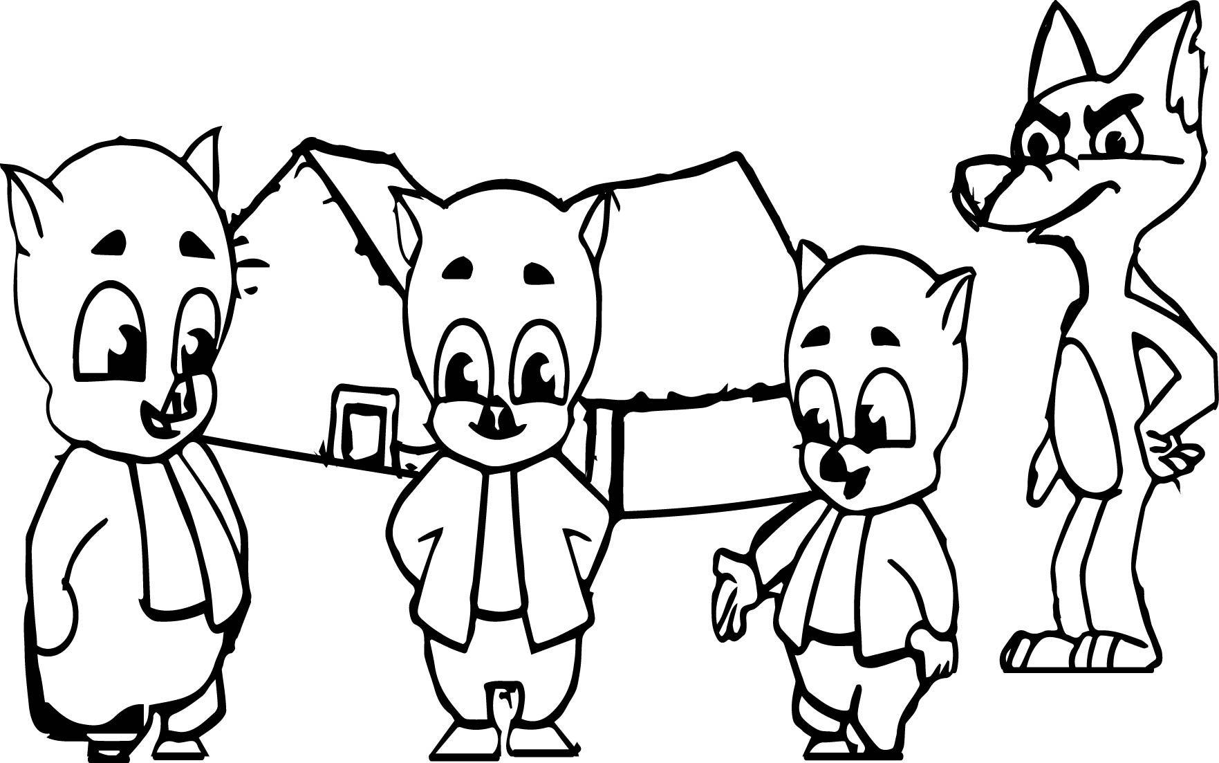 awesome 3 Little Pigs And The Big Bad Wolf Coloring Page