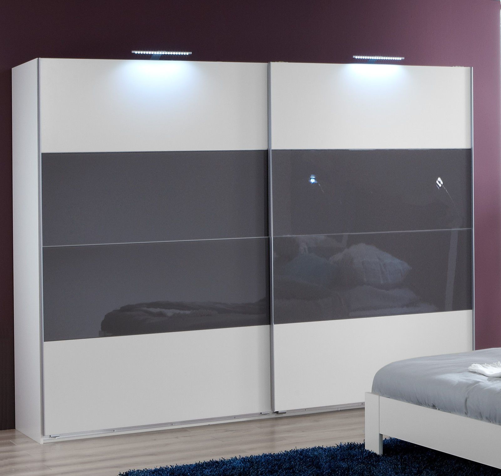 Slumberhaus German Eleganz White Grey Glass 135cm Sliding Door Wardrobe Sliding Door Wardrobe Designs Sliding Wardrobe Designs Sliding Wardrobe Doors