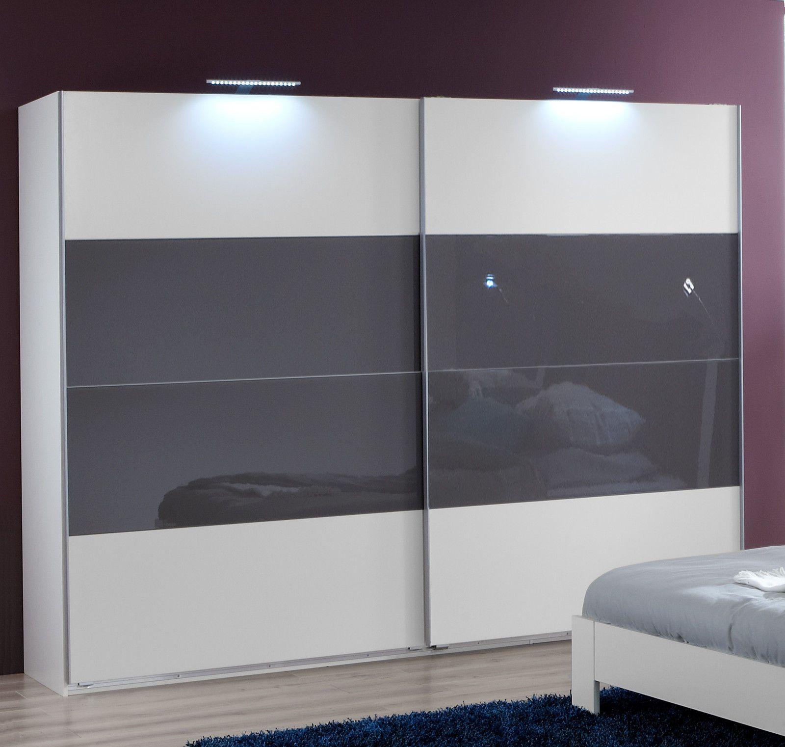 Slumberhaus german eleganz white u grey glass cm sliding door