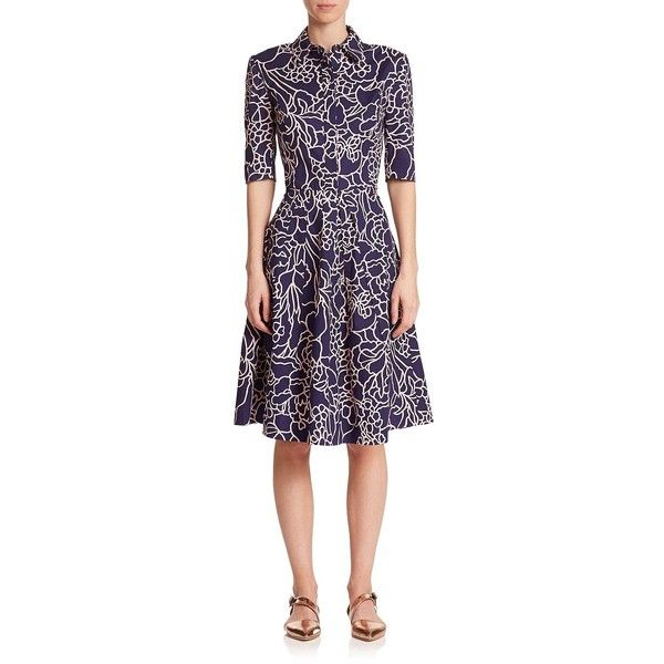 Oscar de la Renta Printed Stretch Cotton Shirtdress ($1,190) ❤ liked on Polyvore featuring dresses, apparel & accessories, navy, navy dress, purple floral dress, floral shirt dress, navy blue fit and flare dress and purple dress