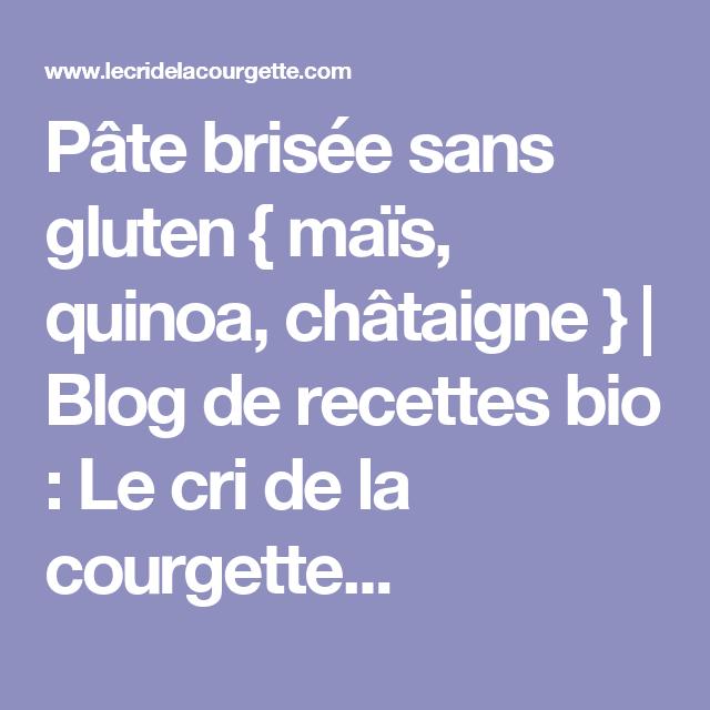 Pâte brisée sans gluten { maïs, quinoa, châtaigne } | Blog de recettes bio : Le cri de la courgette...