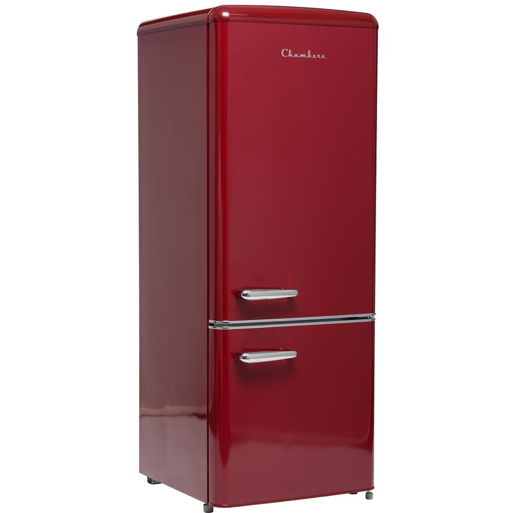 Chambers 22 In 7 Cu Ft Retro Bottom Freezer Refrigerator In Wine Red Counter Depth Mrb192 07wr The In 2020 Retro Refrigerator Bottom Freezer Vintage Refrigerator