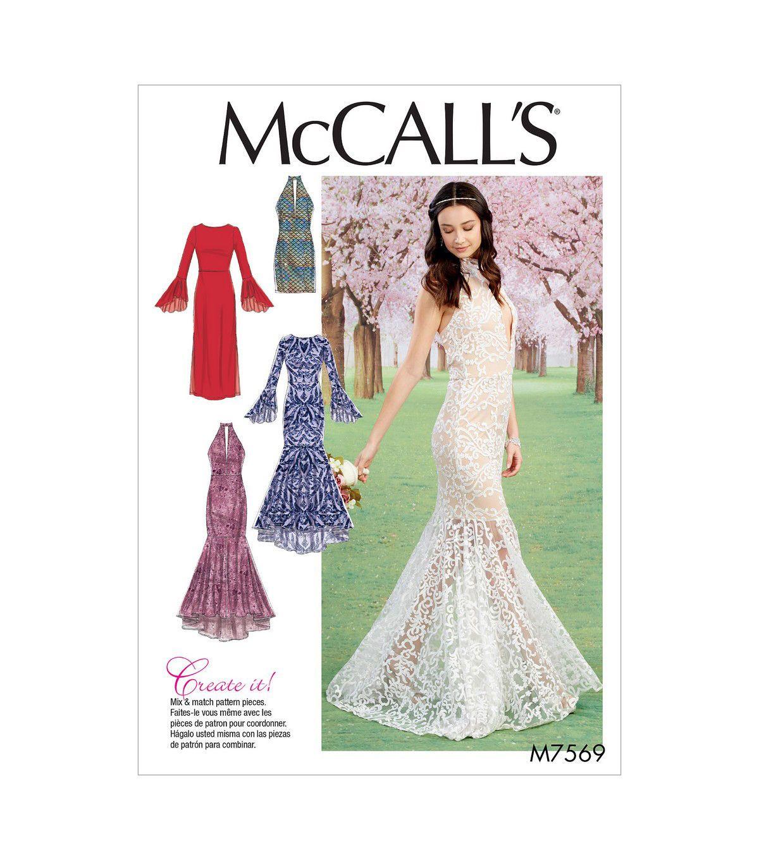 McCall's Pattern M7569 Misses' Column & Trumpet Dresses