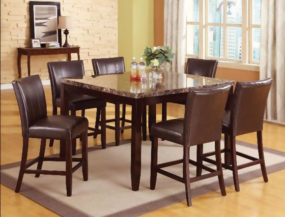Dark Brown Dining Set, Marble | Ferrara Five Piece Pub Height ...