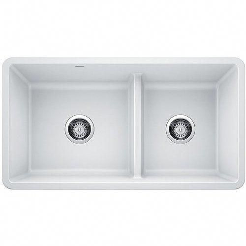 Blanco 33 Inch Precis Undermount Low Divide Double Bowl Undermount Kitchen Sink White 442524 Blanco Bowl Divide Double Inch