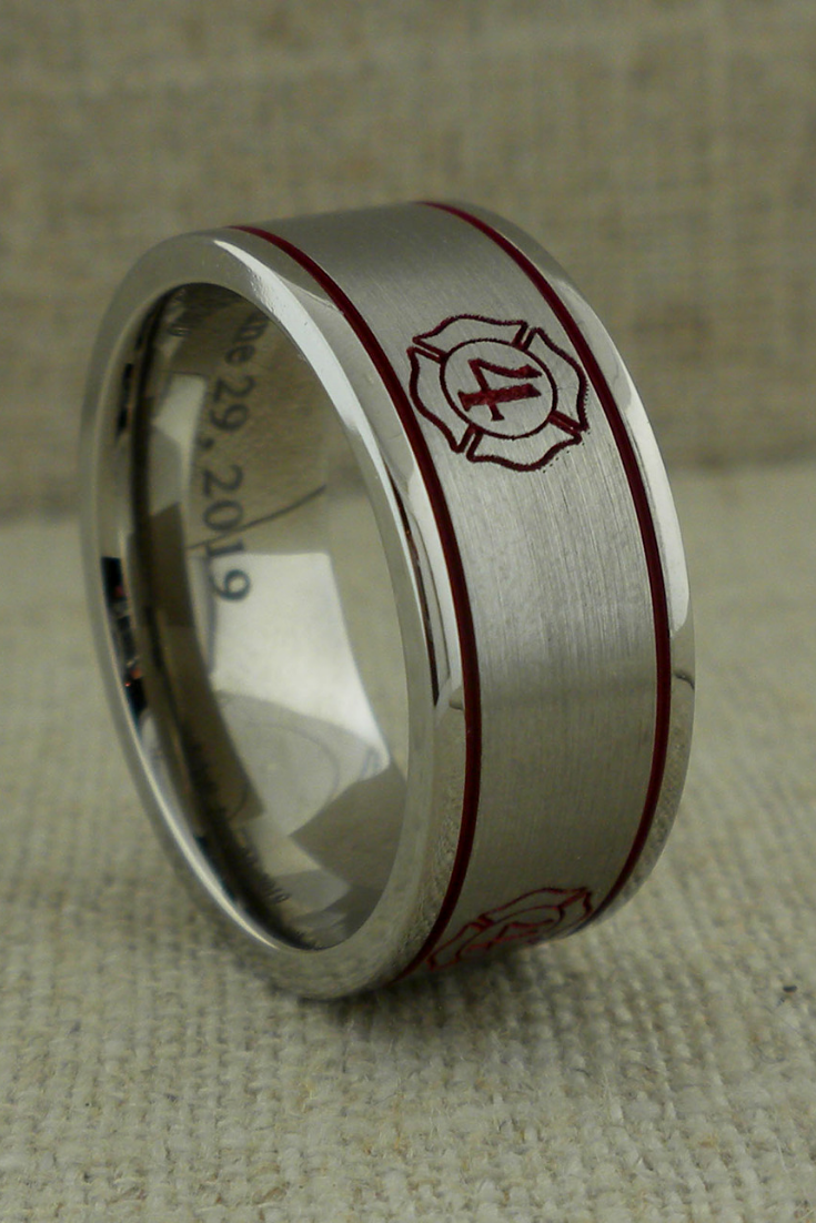 Custom Firefighter Wedding Ring Firefighter Wedding Custom Rings Titanium Wedding Rings