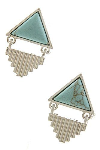KARMAS CANVAS TRIANGLE STONE EARRINGS SilverTurquoise >>> Read more  at the image link.