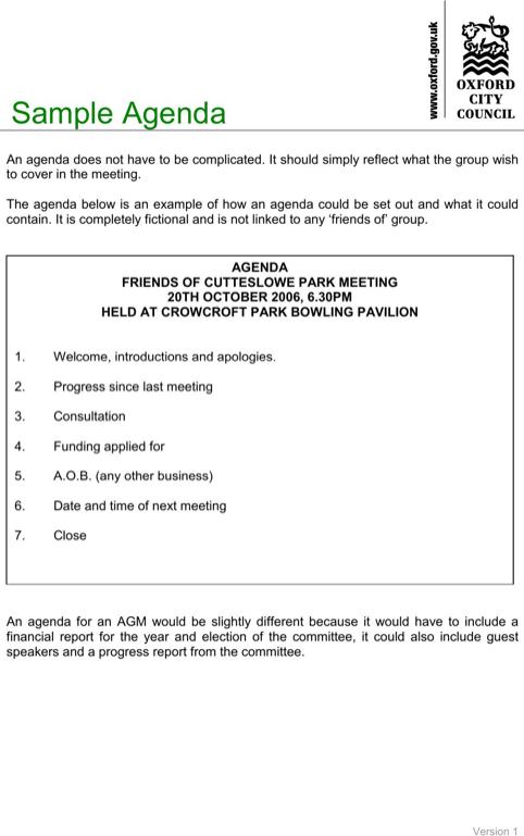 Meeting Agenda Sample  TemplatesForms