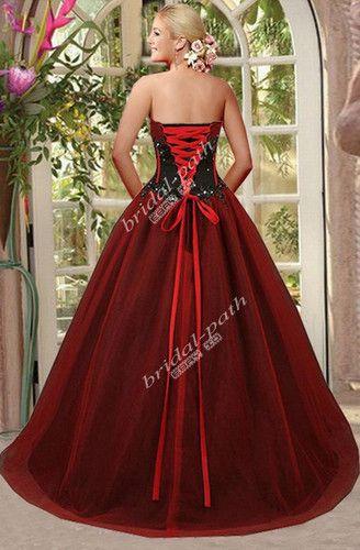 6fc67e99ea Gothic custom gorgeous red   black corset wedding dress bridal gown ...