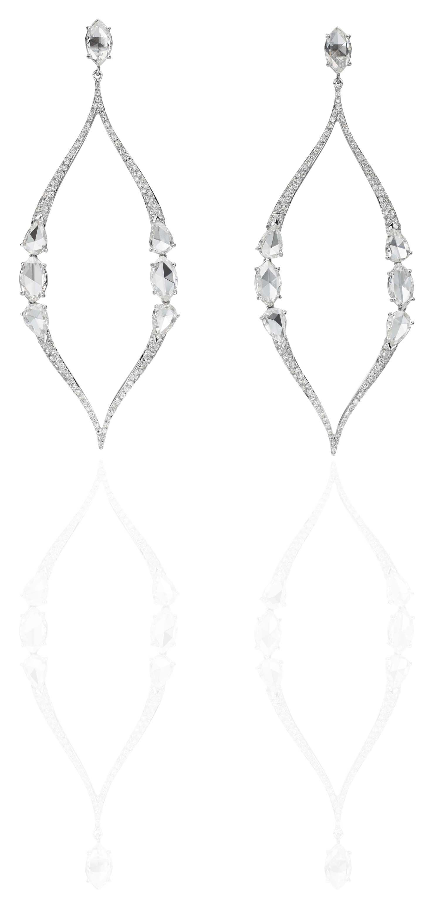 Round and rose cut diamond earrings.