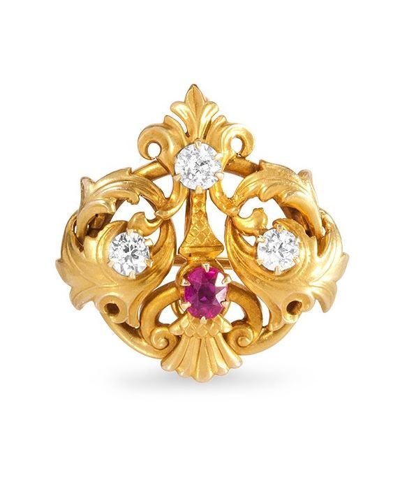 Art Nouveau Pendant -   18k yellow gold ruby & diamond.
