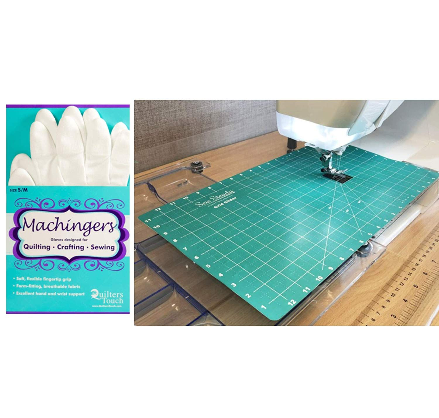 Sew Steady Free Motion Quilting Grid Slider Mat 12 x 20 and Machingers Gloves Size S//M Bundle