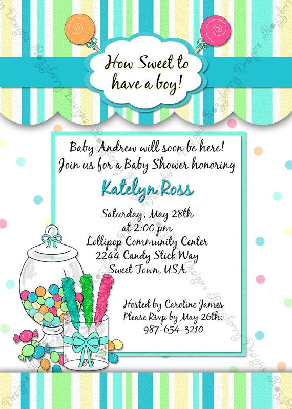 Baby shower invitation - candy themed Razzberry Designs - how to word baby shower invitations