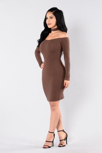 1f645d1fa8b1 Available in Chocolate and Hunter Green - Off Shoulder Dress - Ribbed -  Long Sleeve - Attached Choker - Lined - Midi Length - 95% Polyester 5%  Spandex